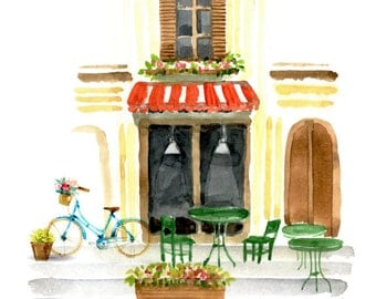 Watercolour Street Cafe Scene Background Clipart Graphic Design PNG High Resolution S306
