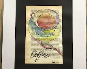 Coffee break, book page watercolour with pen and ink