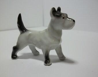 White and Black Scottish Terrier GERMANY Dog Figurine