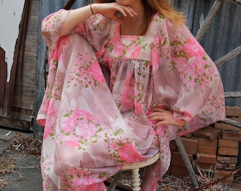 Pink and white 70's boho polyester dress with flowing sleeves
