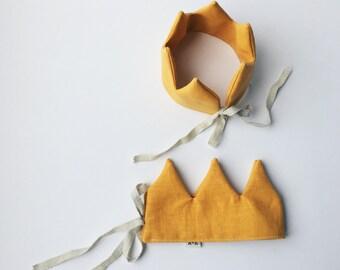 Golden Crown linen-children's Crown-it instead-birthday-verjaardagskroon-Crown in linen-Crown toys-children's Party