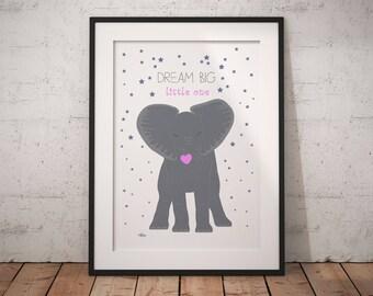 Elephant nursery art, nursery wall art, elephant print, elephant nursery, nursery animal print, nursery elephant, nursery decor, safari art