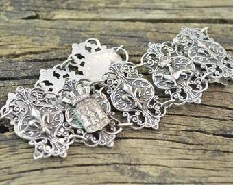 Ornate French Motif Link Bracelet Sterling Silver 26.1g