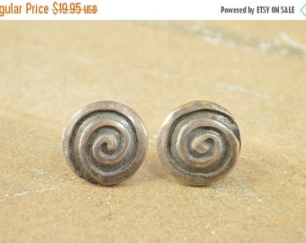 On Sale Embossed Scroll Design Round Vintage Style Stud Earrings Sterling Silver 5g