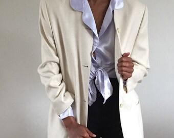 Ivory 100% Raw Silk Woven Collarless Blazer / Raw Silk Jacket