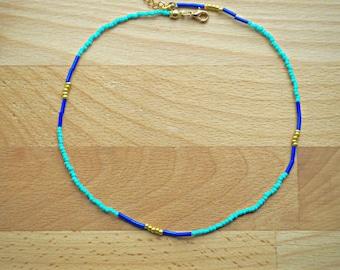 Choker necklace - Dainty choker - Delicate choker - Boho choker - Turquoise blue gold - Seed bead choker - Gift under 20 - FREE SHIP
