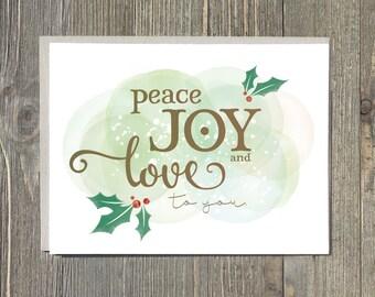 Christmas cards, holiday notecard, peace love and joy