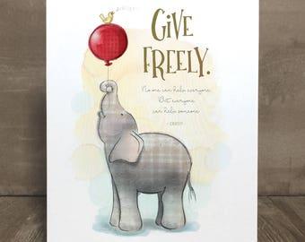Elephant art print, nursery art, kid character trait, generosity