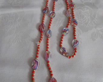 Rainbow Lampwork Glass Bead Necklace