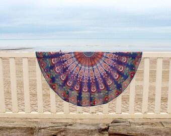 Cover picnic Mandala round Bohemian Beach pareo Yoga meditation