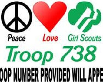 Girl Scouts Troop Personalized Iron on Transfer