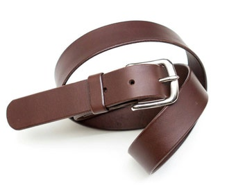 Leather belt - stainless steel buckle - Brown - 3 cm - l = 100