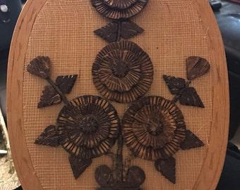 Vinatge Coconut Shell Flower Art