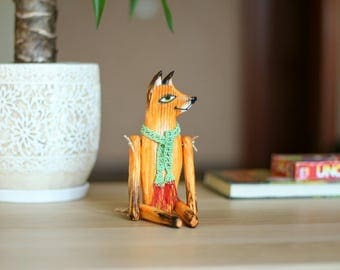 OOAK Art Doll - Wooden Doll - Hand Carved Fox