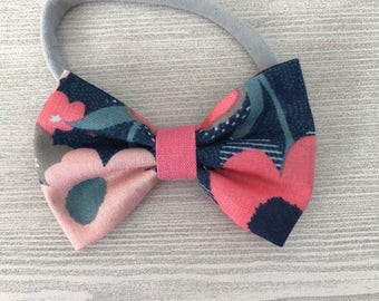 Pink and Blue Floral Baby Bow - Baby Headband - Bow Hair Clip - Baby Spring Accessories - Headband or Bow tie