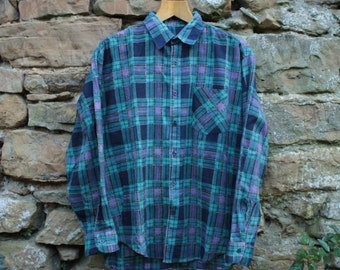Vintage Green And Purple Checked Shirt - Size Large