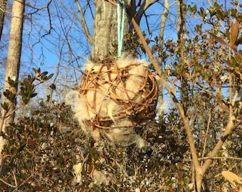 Bird Nesting ball filled with Alpaca Fiber plus 2oz Refill bag