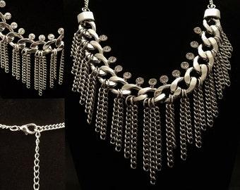 Necklace, Chain & Rhinestone  Statement Curb Chains with Rhinestones