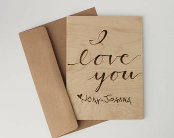 Love Cards, Personalized Wood Card, Valentines Gift, 5th Anniversary Gift, I Love You, Gift for Mom, Dad, Her, Him, Husband, Wife