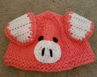 Knitted Crochet Pink Piglet Baby Beanie Hat Infants / Newborn
