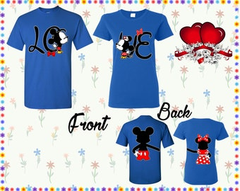 Love Mickey Minnie Kissing T Shirt Mickey Minnie Back Shirt Front Back Print Shirts Couple Tshirts Couple Shirt Couple Tees Gift For Couple