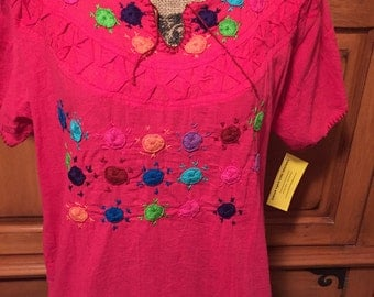 Oaxaca Mexican Embroidery Ladies Womens Top Blouse Medium Large Xlarge
