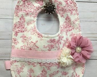 Shabby Chic Mauve Toile Print with Shabby Chic Flowers