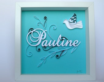 Table theme Dove birth or personalized baptism gift. Olivier, first name. Turquoise, red. embossed. Deco room. paper cut
