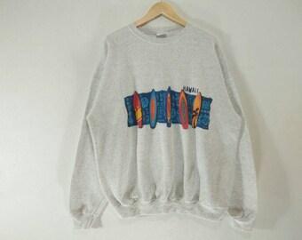 Vintage !! HAWAII Santee Sweatshirt  Big Logo Surf Skate Beach Crewneck Made in USA Size X - Large #A4
