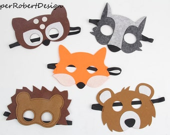 SET OF 5 Kids Animal Masks, Animal Costumes, Bear, Animal Party Decorations, Woodlands Party, Deer Mask, Fox Mask, Animals, Cat Mask, Wolf