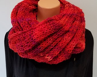 Shades of Red, Firey Hand Knit Infinity Scarf
