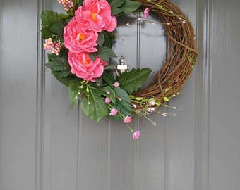Grapevine Wreath With Flowers,  Door Wreath, Wreath, Greenery Wreath