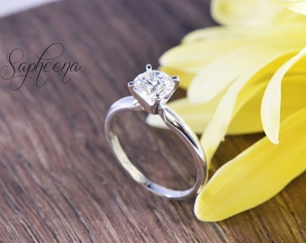 1 ct Round Cut Solitaire Engagement Ring in Solid 14K White Gold, Wedding Ring, Bridal,Promise Ring, Solitaire Ring by Sapheena