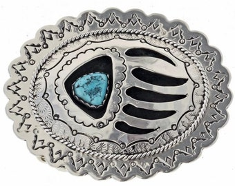 Native American Jewelry Belt Buckle Shadowbox Turquoise Bear Paw