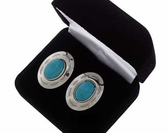 Turquoise Cuff Links Native American Silver Jewelry