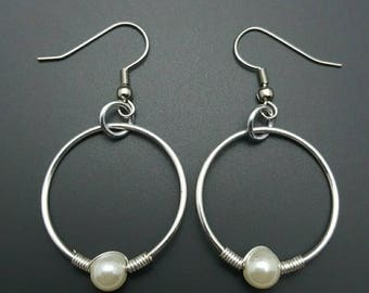 HANDMADE Pearl and Sterling Silver Wire Earrings
