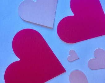 DIE CUTOUTS - Hearts - Sturdy Card Stock - Set of six (6) in six sizes.