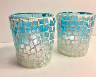 SALE! Icy Blue Glass Mosaic Votive Holders, set of 2