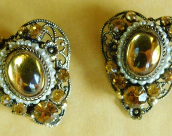 Vintage Amber Stone Antique Style Clip On Earrings