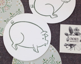 Piggy coasters with vintage 1960's paper backing, set of 4