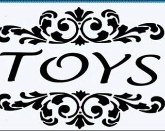 Toys word 190 micron Mylar Stencil durable & sturdy- A5 - A4 - A3***NEW**