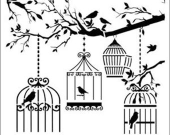 "Birdcages and Branches 190m Mylar 6"", 8"", 12"" Stencil  Free UK p&p"
