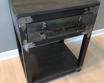 Side Table w/ drawer Steel and Birch (Industrial)