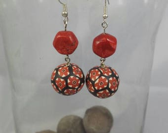 Earrings black and rust