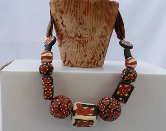 Polymer clay necklace black and rust