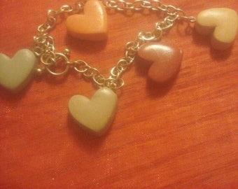 Polymer clay heart charm Bracelet