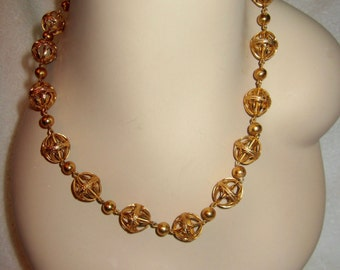 MMA Gold Plated Sterling Silver Filagree Necklace Ball Bead 46g Metropolitan Museum NY