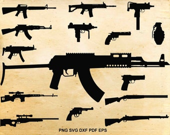 Gun svg files, Weapons silhouette, Guns clipart, Pistol svg,Files for silhouette, Cut files for cricut, svg dxf eps dxf png