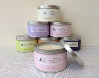 Fairy Dust scented soy candle tin