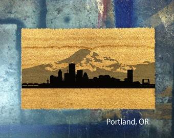 Portland, Oregon City Skyline Coconut Fiber Mat - Hand Painted
